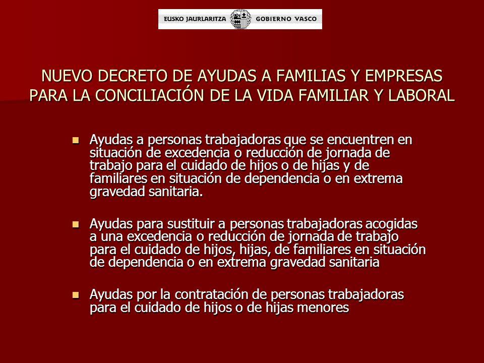 NUEVO DECRETO DE AYUDAS A FAMILIAS Y EMPRESAS PARA LA CONCILIACIÓN DE LA VIDA FAMILIAR Y LABORAL