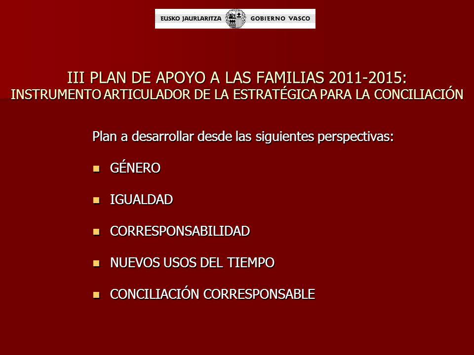 III PLAN DE APOYO A LAS FAMILIAS 2011-2015: INSTRUMENTO ARTICULADOR DE LA ESTRATÉGICA PARA LA CONCILIACIÓN