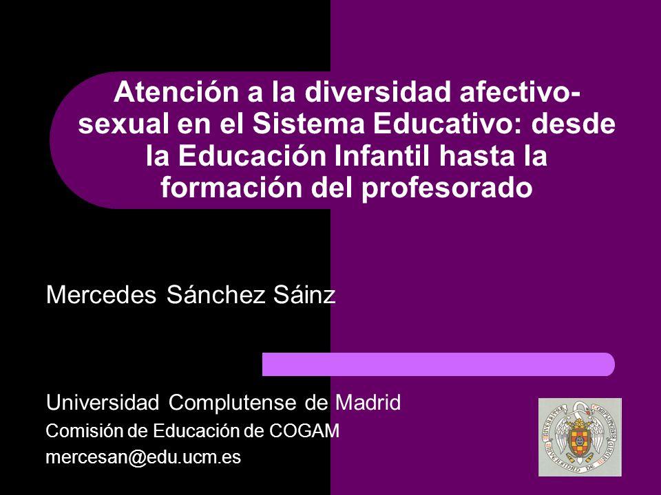 Atención a la diversidad afectivo-sexual en el Sistema Educativo: desde la Educación Infantil hasta la formación del profesorado