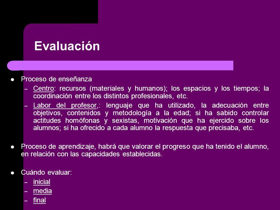 Evaluación Proceso de enseñanza