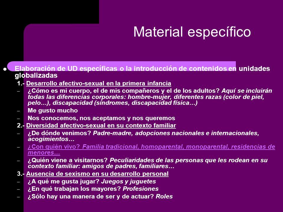 Material específico Elaboración de UD específicas o la introducción de contenidos en unidades globalizadas.