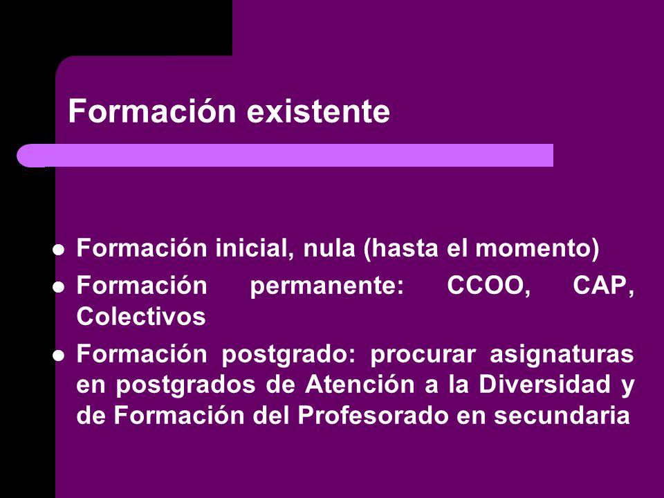 Formación existente Formación inicial, nula (hasta el momento)