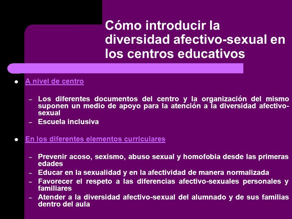 Cómo introducir la diversidad afectivo-sexual en los centros educativos