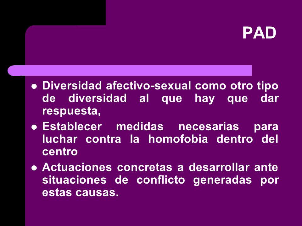 PAD Diversidad afectivo-sexual como otro tipo de diversidad al que hay que dar respuesta,