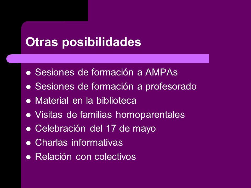 Otras posibilidades Sesiones de formación a AMPAs