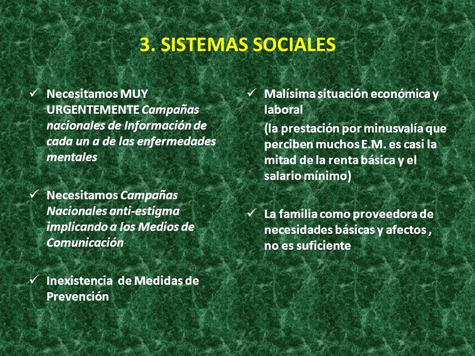 3. SISTEMAS SOCIALESNecesitamos MUY URGENTEMENTE Campañas nacionales de Información de cada un a de las enfermedades mentales.
