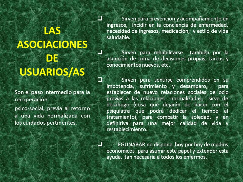 LAS ASOCIACIONES DE USUARIOS/AS