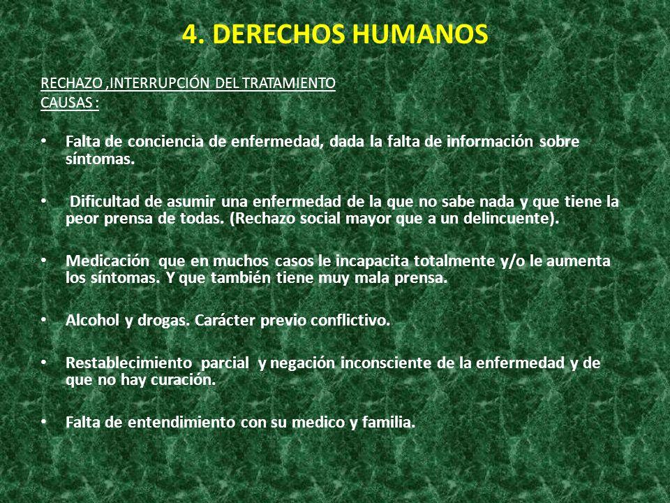 4. DERECHOS HUMANOSRECHAZO ,INTERRUPCIÓN DEL TRATAMIENTO. CAUSAS : Falta de conciencia de enfermedad, dada la falta de información sobre síntomas.