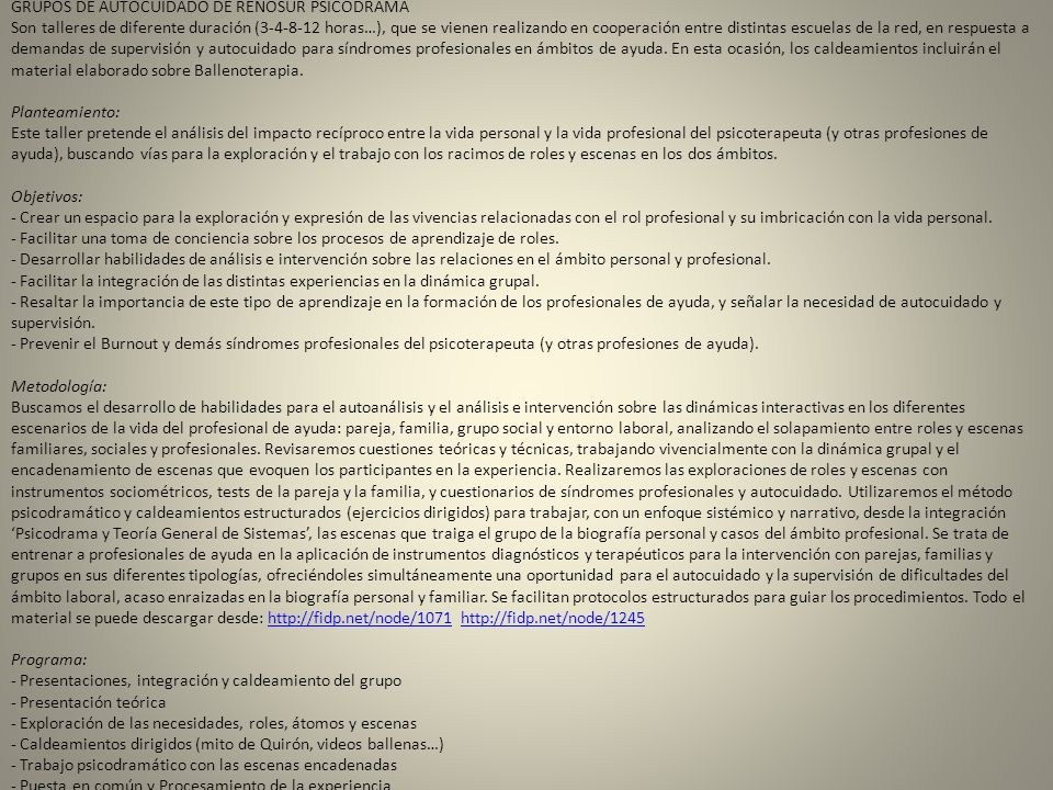 GRUPOS DE AUTOCUIDADO DE RENOSUR PSICODRAMA