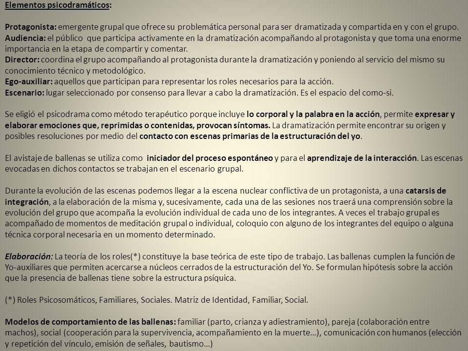 Elementos psicodramáticos: