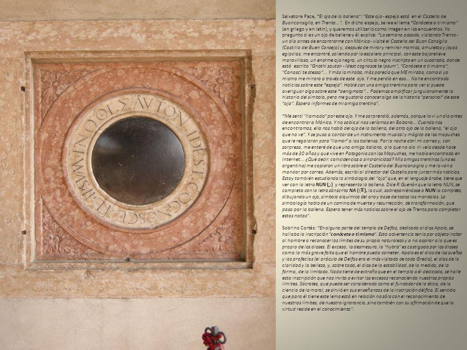 Salvatore Pace, El ojo de la ballena : Este ojo - espejo está en el Castello de Buonconsiglio, en Trento... . En dicho espejo, se lee el lema Conócete a ti mismo (en griego y en latín), y queremos utilizarlo como imagen en los encuentros. Yo pregunto si es un ojo de ballena y él explica: La semana pasada, visitando Trento - un día antes de encontrarme con Mónica - visité el Castello del Buon Consiglio (Castillo del Buen Consejo) y, después de mirar y remirar momias, amuletos y joyas egipcias, me encontré, saliendo por la escalera principal, con este bajorelieve maravilloso, un enorme ojo negro, un círculo negro inscripto en un cuadrado, donde está escrito Gnothi sauton - Idest cognosce te ipsum , Conócete a ti mismo , Conosci te stesso ... Y más lo miraba, más parecía que ME miraba, como si yo mismo me mirara a través de este ojo. Y me perdía en eso... No he encontrado noticias sobre este espejo . Hablé con una amiga trentina para ver si puede averiguar algo sobre este aenigmata ... Podemos amplificar junguianamente la historia del símbolo, pero me gustaría conocer algo de la historia personal de este ojo . Espero informes de mi amiga trentina .