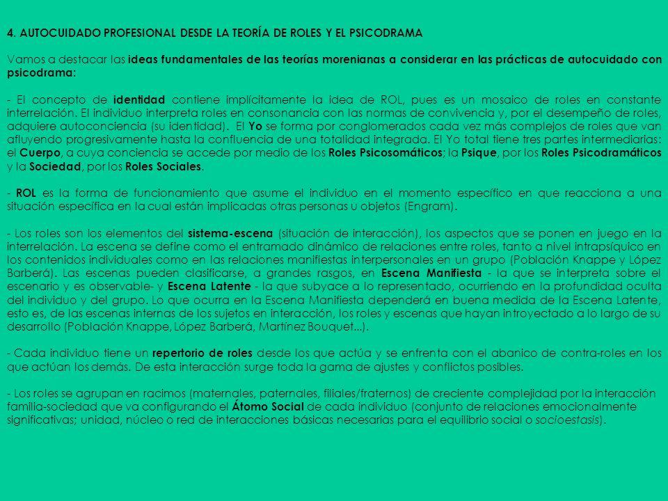 4. AUTOCUIDADO PROFESIONAL DESDE LA TEORÍA DE ROLES Y EL PSICODRAMA