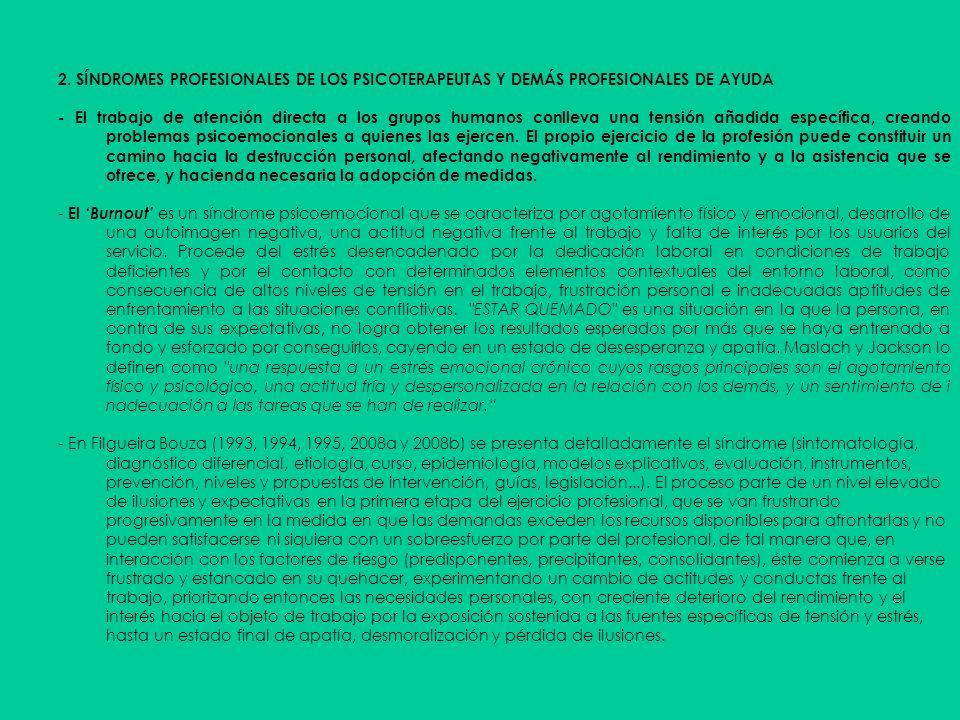 2. SÍNDROMES PROFESIONALES DE LOS PSICOTERAPEUTAS Y DEMÁS PROFESIONALES DE AYUDA