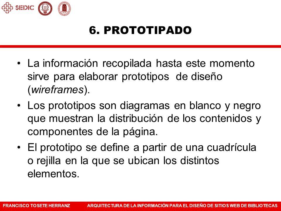 6. PROTOTIPADO La información recopilada hasta este momento sirve para elaborar prototipos de diseño (wireframes).