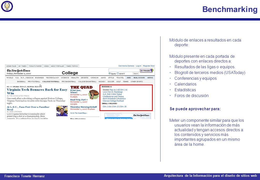 Benchmarking Módulo de enlaces a resultados en cada deporte: