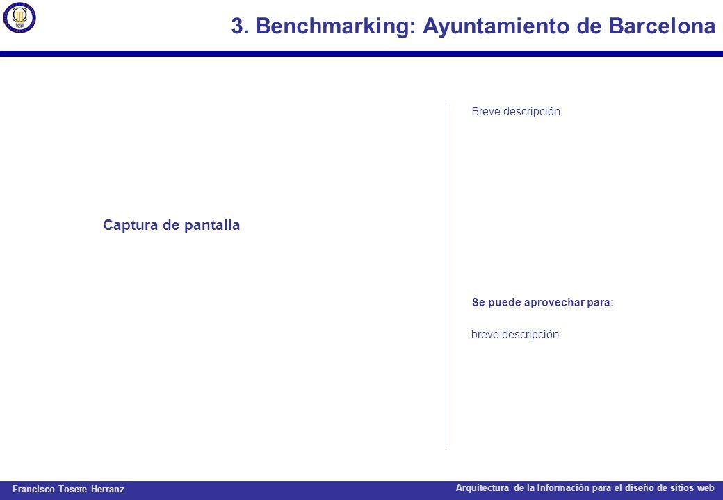 3. Benchmarking: Ayuntamiento de Barcelona