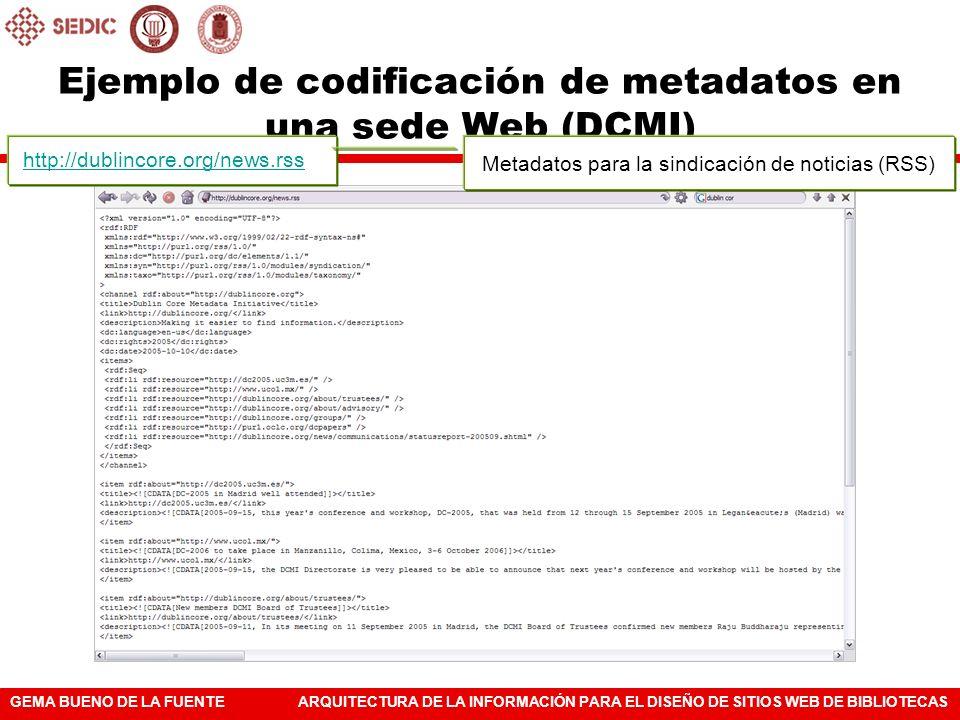 Ejemplo de codificación de metadatos en una sede Web (DCMI)