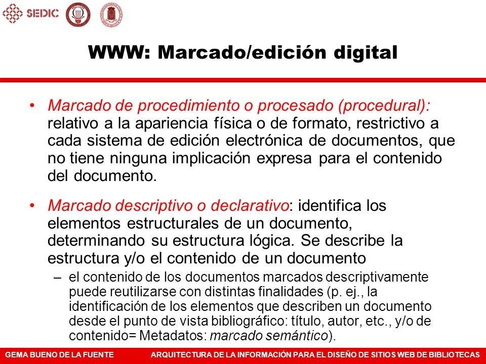 WWW: Marcado/edición digital