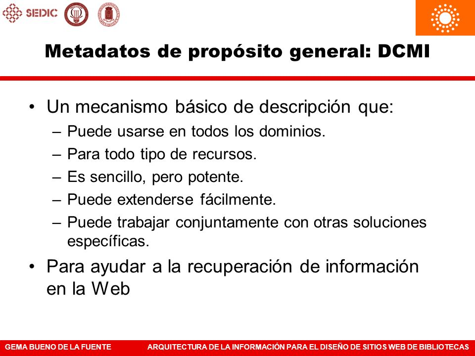 Metadatos de propósito general: DCMI