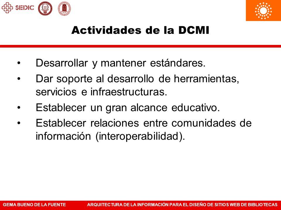 Actividades de la DCMI Desarrollar y mantener estándares. Dar soporte al desarrollo de herramientas, servicios e infraestructuras.