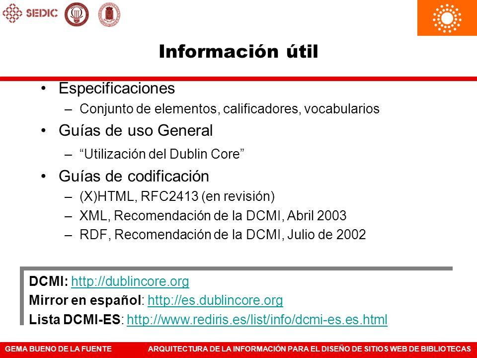 Información útil Especificaciones Guías de uso General