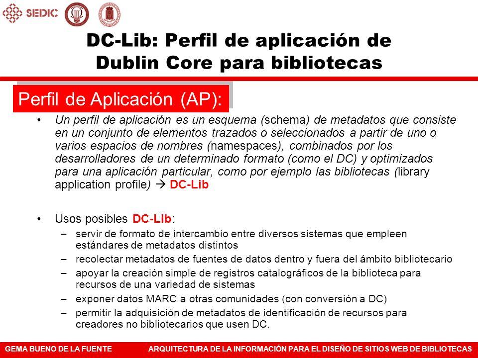 DC-Lib: Perfil de aplicación de Dublin Core para bibliotecas