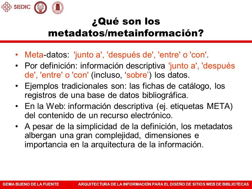 ¿Qué son los metadatos/metainformación