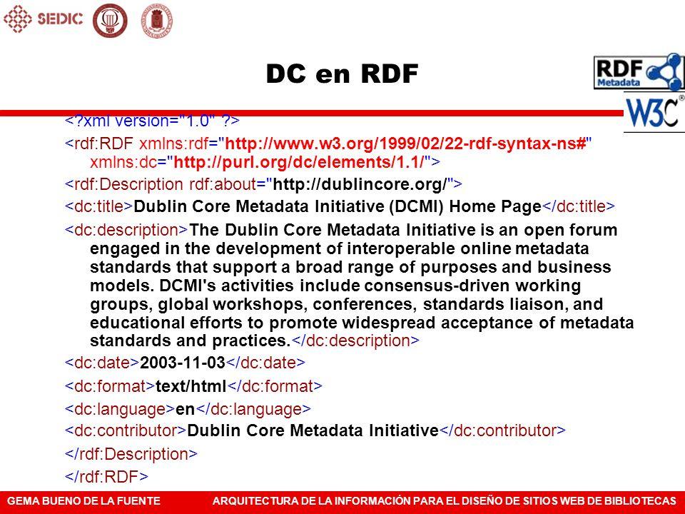 DC en RDF < xml version= 1.0 >