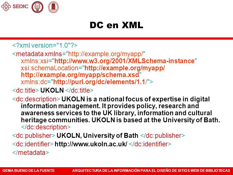 DC en XML < xml version= 1.0 >