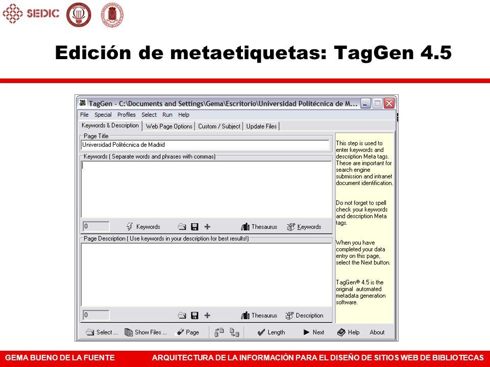 Edición de metaetiquetas: TagGen 4.5