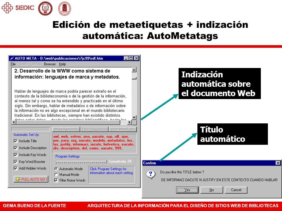 Edición de metaetiquetas + indización automática: AutoMetatags