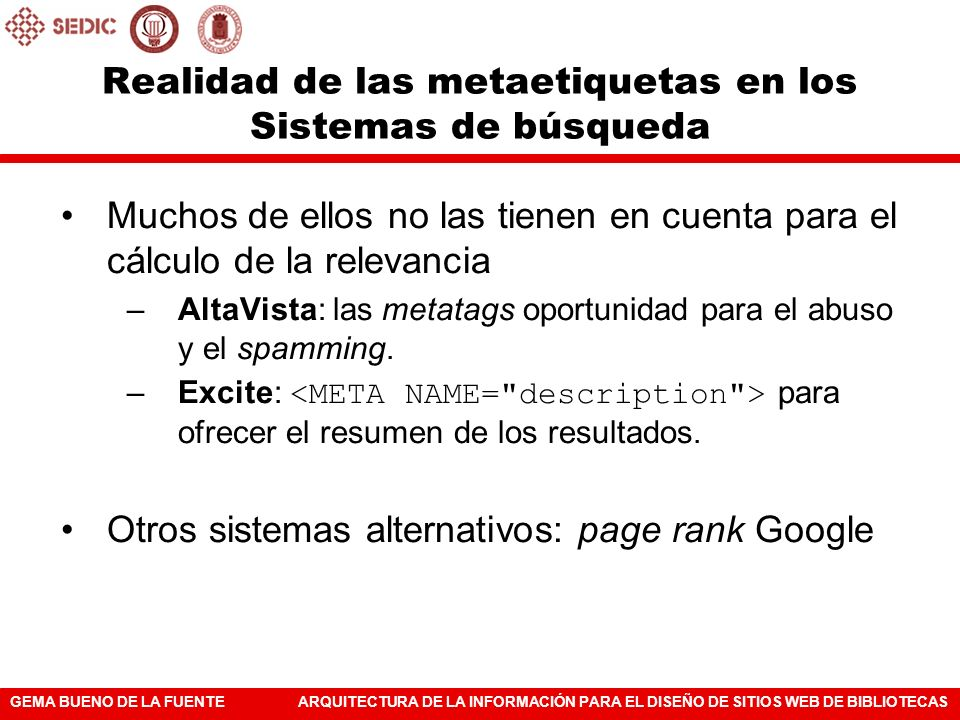 Realidad de las metaetiquetas en los Sistemas de búsqueda