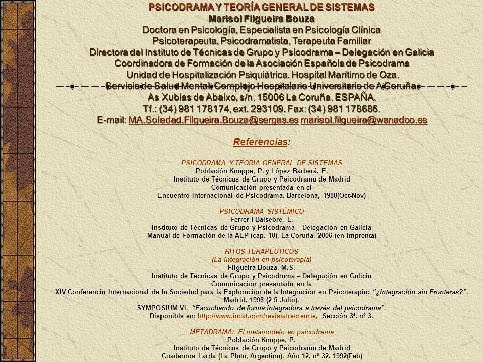 PSICODRAMA Y TEORÍA GENERAL DE SISTEMAS Referencias:
