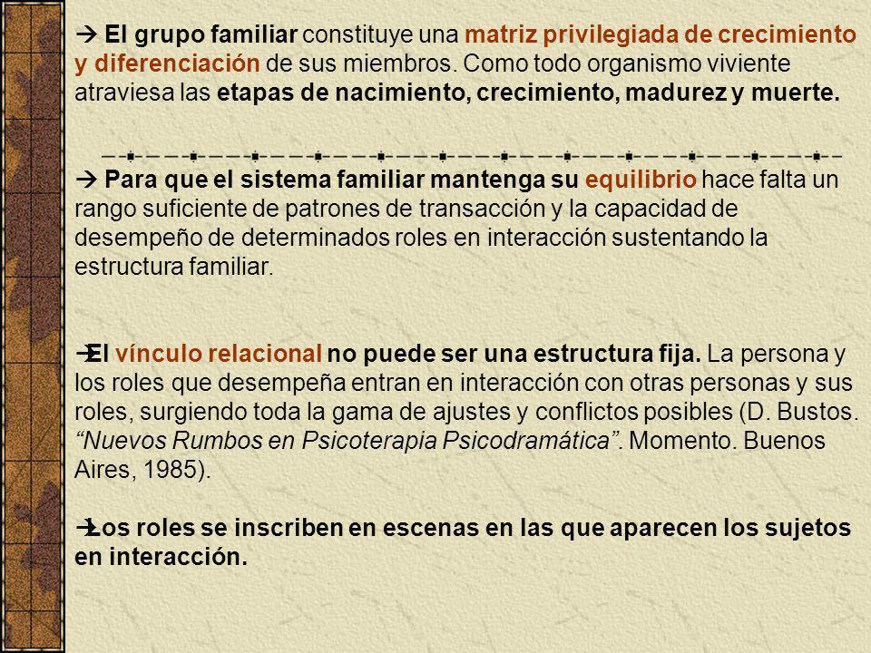  El grupo familiar constituye una matriz privilegiada de crecimiento y diferenciación de sus miembros. Como todo organismo viviente atraviesa las etapas de nacimiento, crecimiento, madurez y muerte.