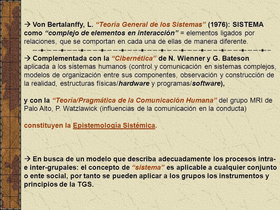  Von Bertalanffy, L. Teoría General de los Sistemas (1976): SISTEMA como complejo de elementos en interacción = elementos ligados por relaciones, que se comportan en cada una de ellas de manera diferente.