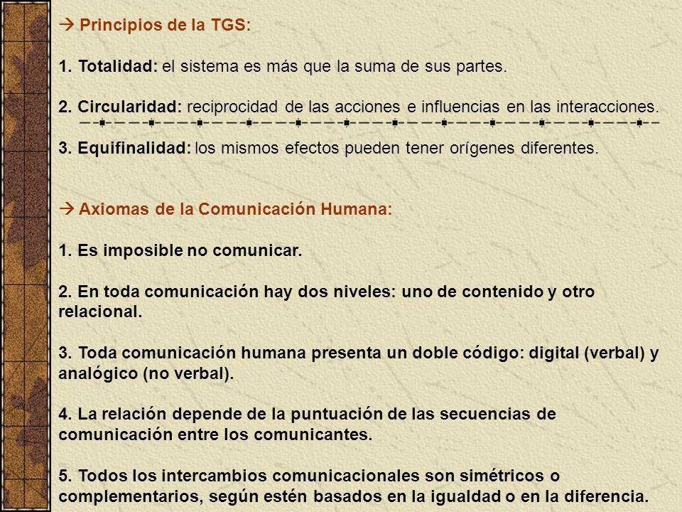  Principios de la TGS: 1. Totalidad: el sistema es más que la suma de sus partes.