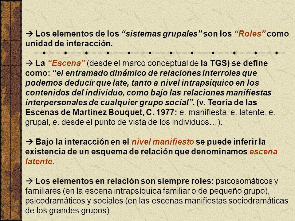  Los elementos de los sistemas grupales son los Roles como unidad de interacción.