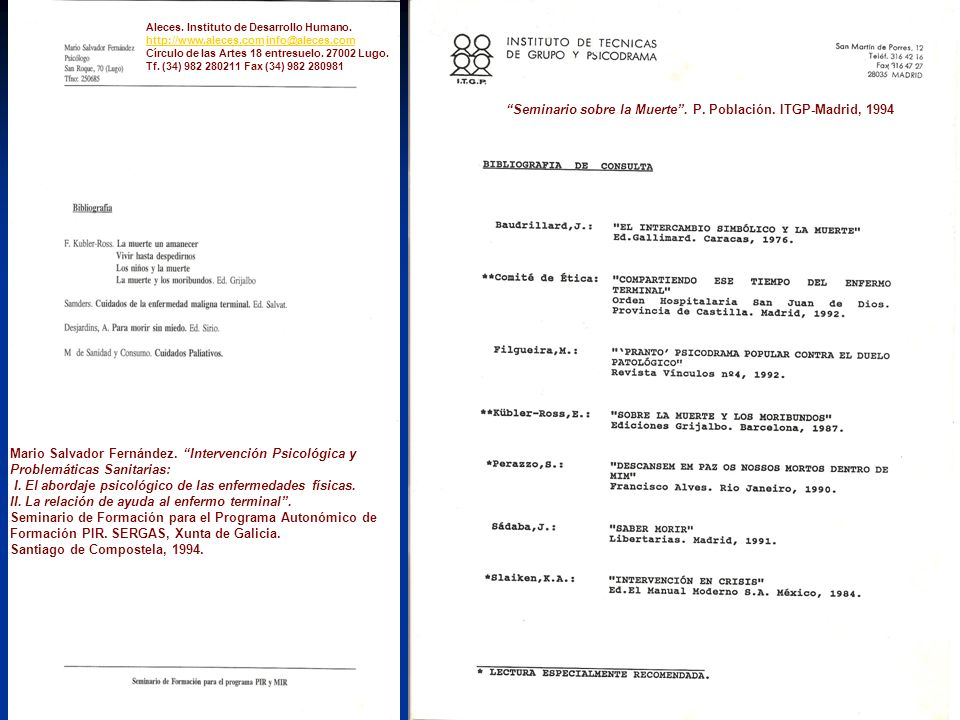 Seminario sobre la Muerte . P. Población. ITGP-Madrid, 1994