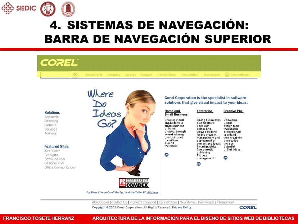 SISTEMAS DE NAVEGACIÓN: BARRA DE NAVEGACIÓN SUPERIOR