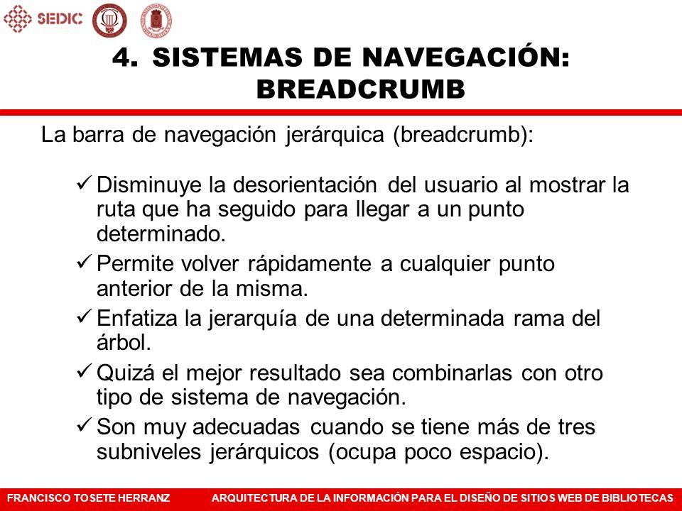 SISTEMAS DE NAVEGACIÓN: BREADCRUMB