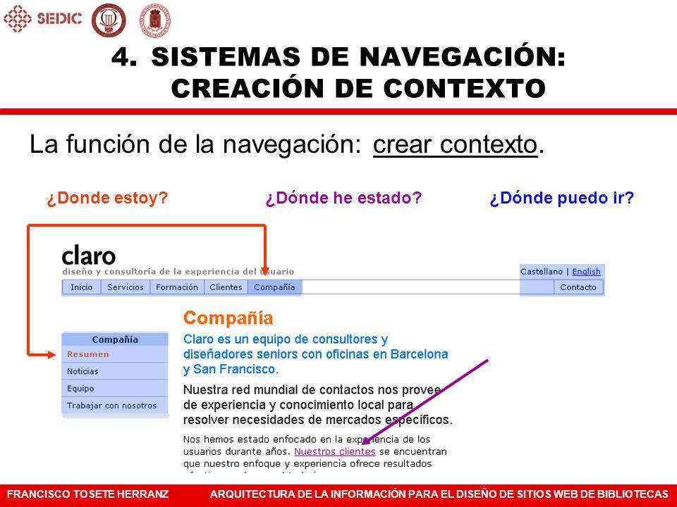 SISTEMAS DE NAVEGACIÓN: CREACIÓN DE CONTEXTO