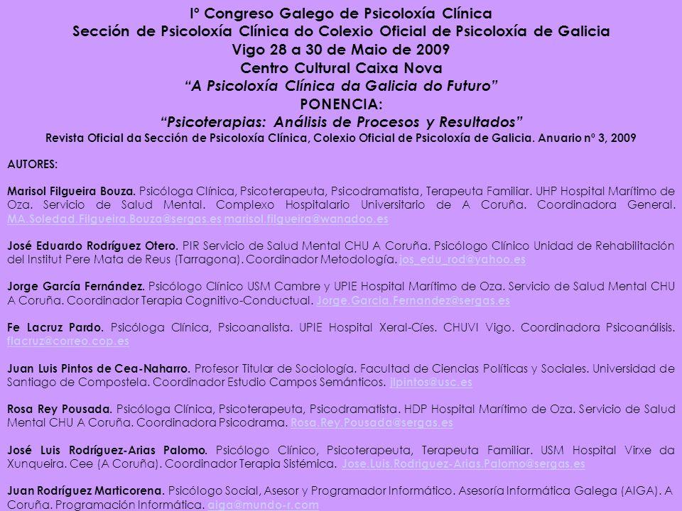 Iº Congreso Galego de Psicoloxía Clínica