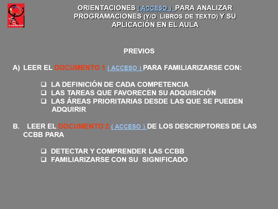 ORIENTACIONES ( ACCESO ) PARA ANALIZAR PROGRAMACIONES (Y/O LIBROS DE TEXTO) Y SU APLICACIÓN EN EL AULA