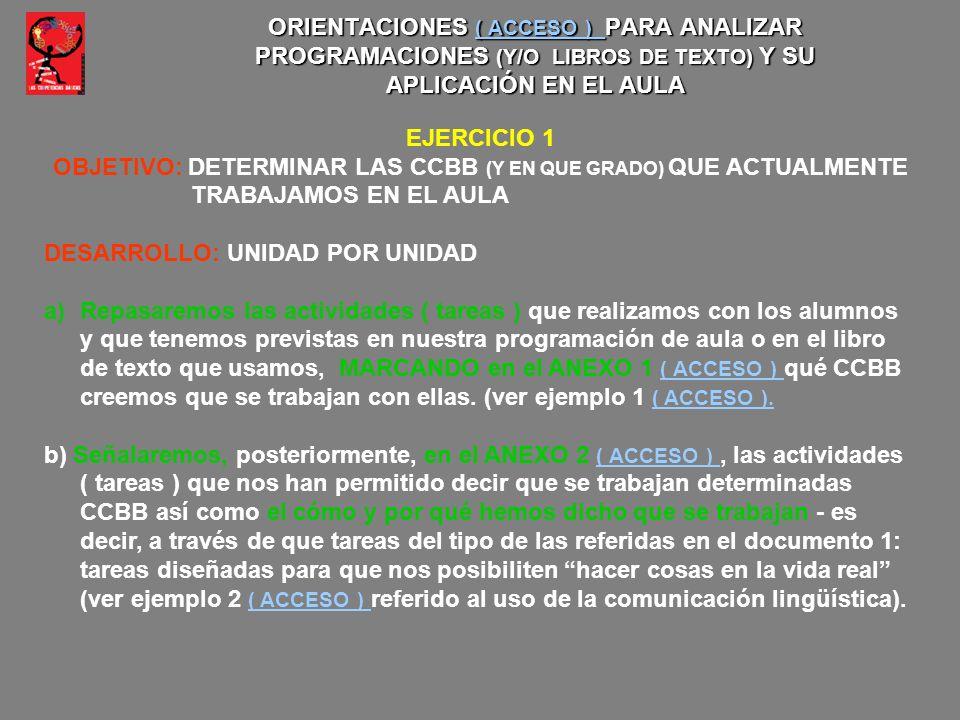 OBJETIVO: DETERMINAR LAS CCBB (Y EN QUE GRADO) QUE ACTUALMENTE