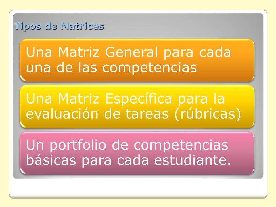 Tipos de Matrices Una Matriz General para cada una de las competencias