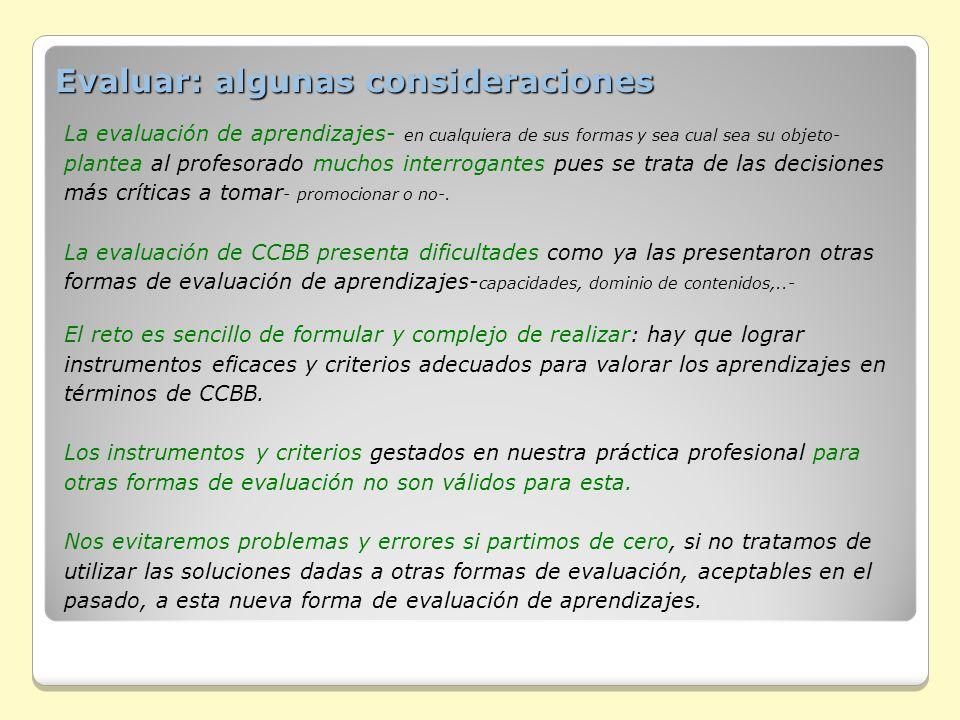 Evaluar: algunas consideraciones