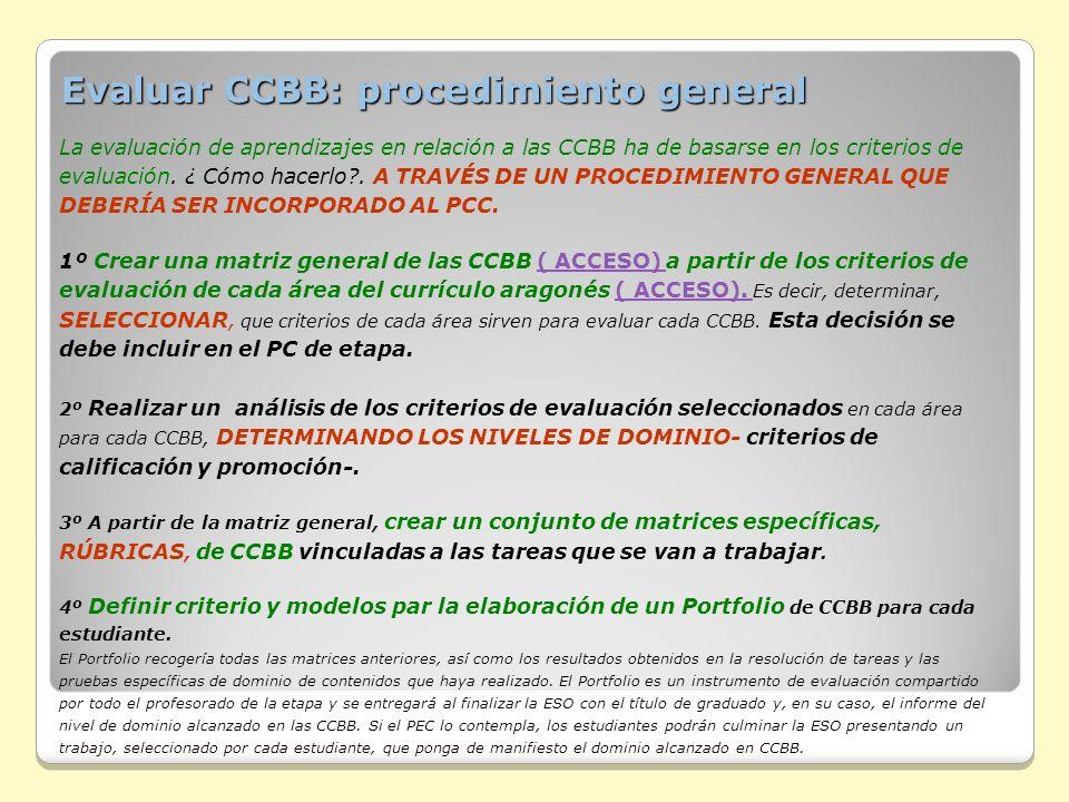 Evaluar CCBB: procedimiento general