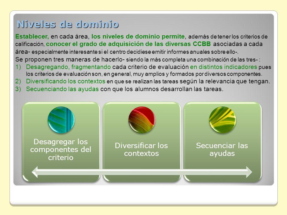 Niveles de dominio Establecer, en cada área, los niveles de dominio permite, además de tener los criterios de.