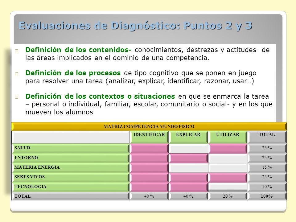 Evaluaciones de Diagnóstico: Puntos 2 y 3