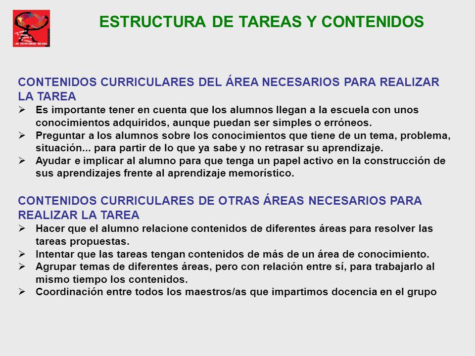 ESTRUCTURA DE TAREAS Y CONTENIDOS